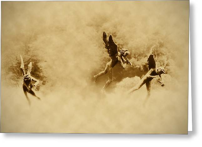 Flying Angel Greeting Cards - Song of the Angels in Sepia Greeting Card by Bill Cannon