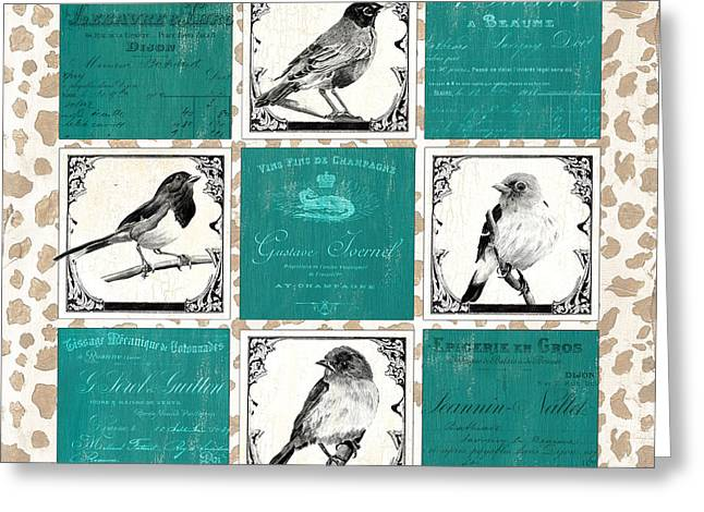 Songbird Cheetah Patch Greeting Card by Debbie DeWitt