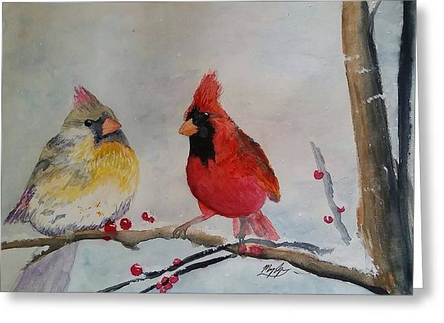 Conversing Paintings Greeting Cards - Songbirds Greeting Card by Mary Lynn Smith