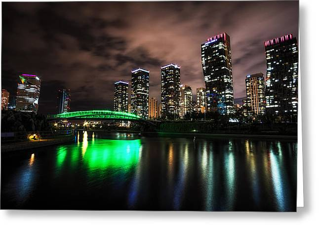 Songdo Canal Night Reflection Greeting Card by Aaron Choi
