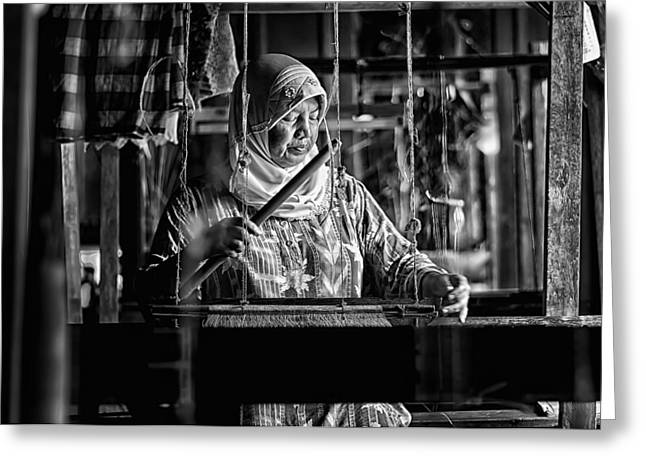 Weave Greeting Cards - Songket Maker Greeting Card by Erwin Astro
