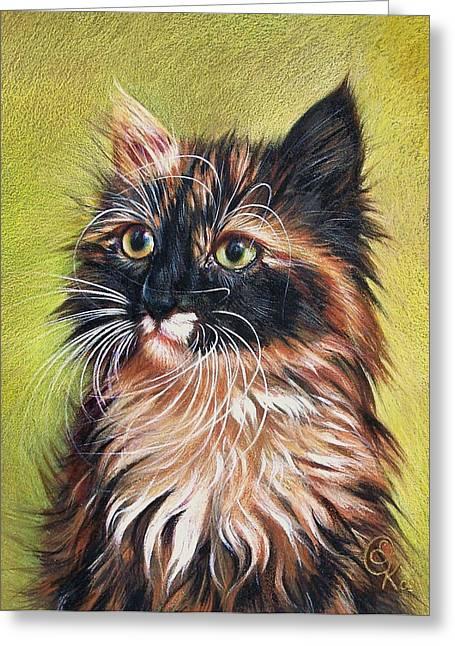 Cat Drawings Greeting Cards - Sonia Greeting Card by Elena Kolotusha
