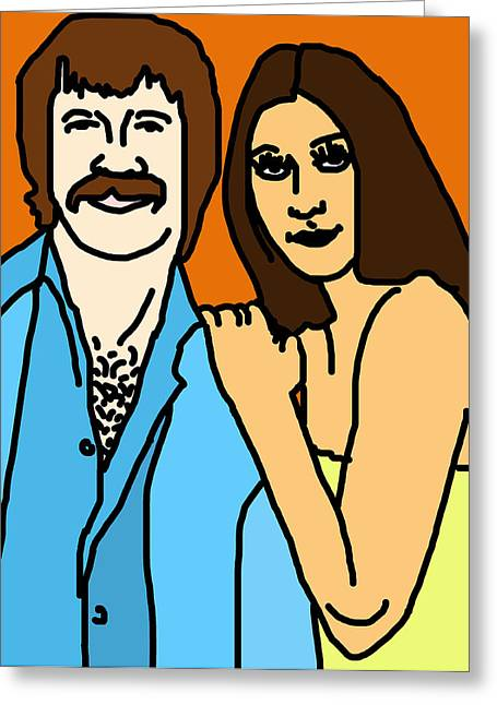 Sonny Greeting Cards - Sonny and Cher Greeting Card by Jera Sky