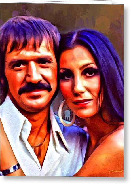 Wife Greeting Cards - Sonny and Cher Portrait Greeting Card by Scott Wallace
