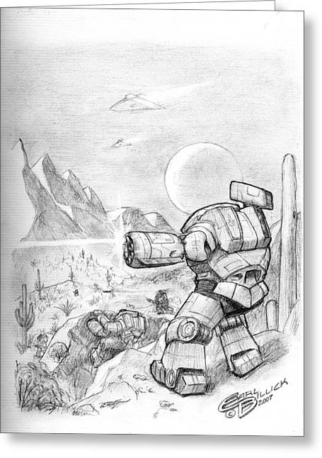 Mech Greeting Cards - Sonoran Assault Greeting Card by Earl Billick