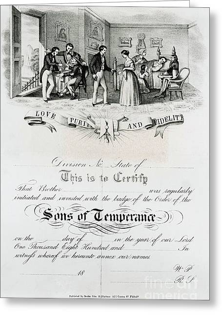 Temperance Movement Greeting Cards - Sons Of Temperance Certificate Greeting Card by Photo Researchers
