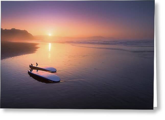 Pais Vasco Greeting Cards - Sopelana beach with surfboards on the shore Greeting Card by Mikel Martinez de Osaba