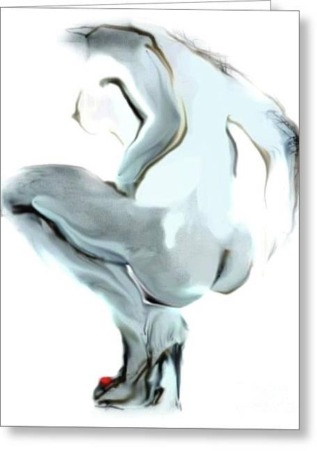 Sophi Squats Greeting Card by Carolyn Weltman