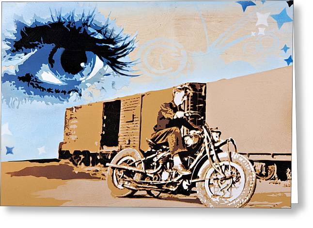 Stencil Spray Greeting Cards - Sophia Keeps a Watchful Eye Over Bob on His Indian Greeting Card by Iosua Tai Taeoalii