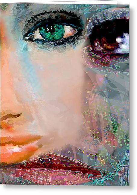 Sophia Loren Portrait Greeting Cards - Sophia Loren abstract portrait Greeting Card by Michele  Avanti