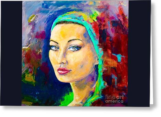 Protrait Greeting Cards - Sophia Loren Greeting Card by ElsaDe Paintings