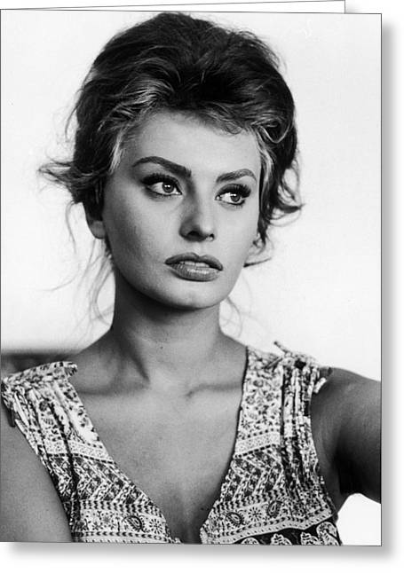 Sophia Loren Greeting Cards - Sophia Loren in black and white Greeting Card by Nomad Art And  Design