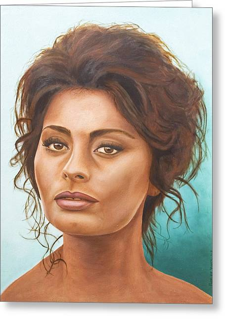 Sophia Loren Portrait Greeting Cards - Sophia Loren Greeting Card by Rob De Vries