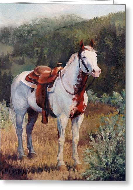 Cowboy Greeting Cards - Sophie Flinders Paint Mare Horse Portrait Painting Greeting Card by Kim Corpany