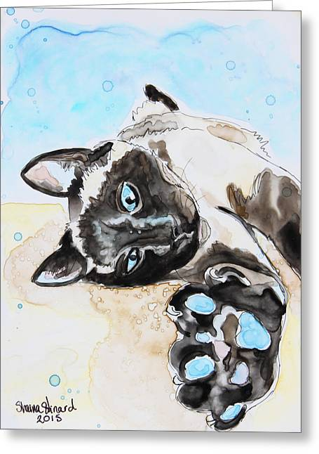 Pen And Paper Greeting Cards - Sophie the Siamese Greeting Card by Shaina Stinard