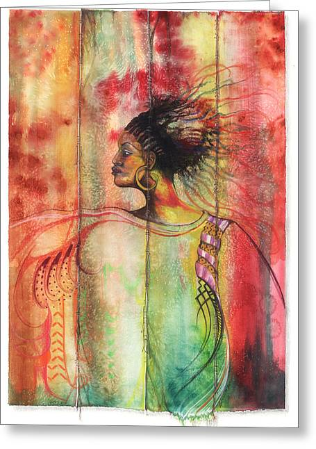 African-american Mixed Media Greeting Cards - Sophisticated Lady Greeting Card by Anthony Burks Sr