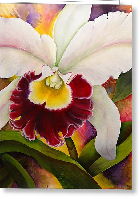 Cattleya Paintings Greeting Cards - Sophistication 4 Greeting Card by Jean Rascher