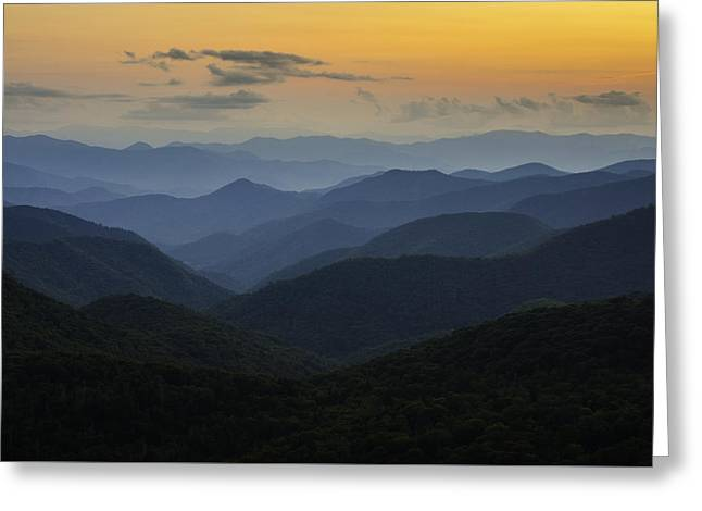 Southern Appalachians Greeting Cards - Sorbet Sunset Greeting Card by Johan Hakansson