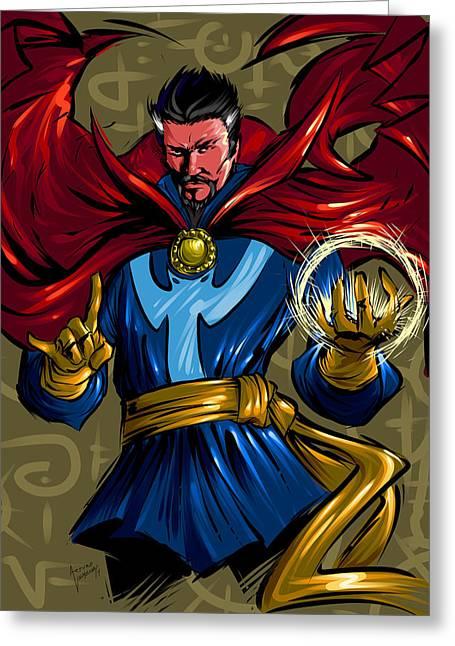 Superheroes Greeting Cards - Sorcerer Greeting Card by Arturo Vilmenay