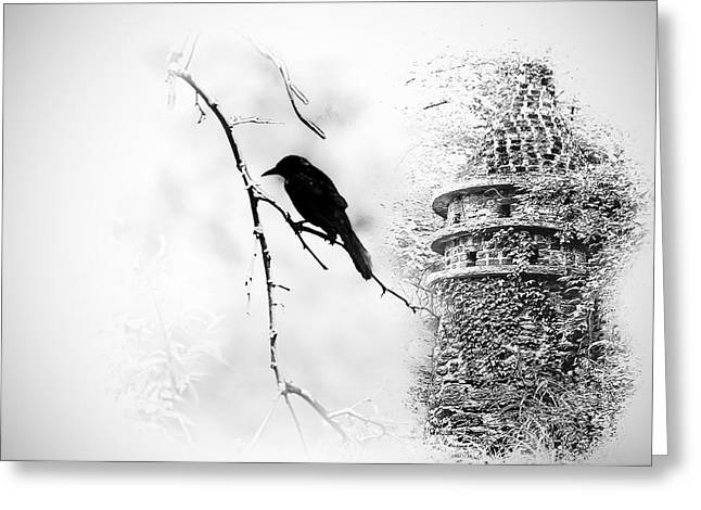 Castle. Birds Greeting Cards - Sorcerers Castle Greeting Card by Bill Cannon