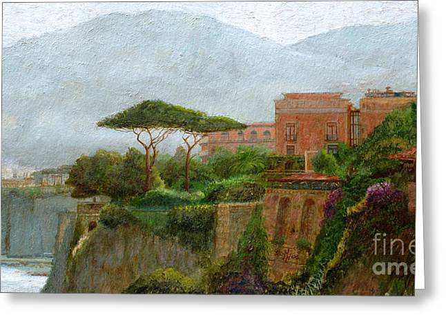 Mountains Greeting Cards - Sorrento Albergo Greeting Card by Trevor Neal