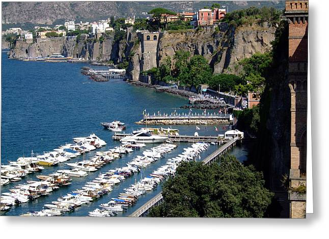 Sorrento Seaport Greeting Card by Mindy Newman