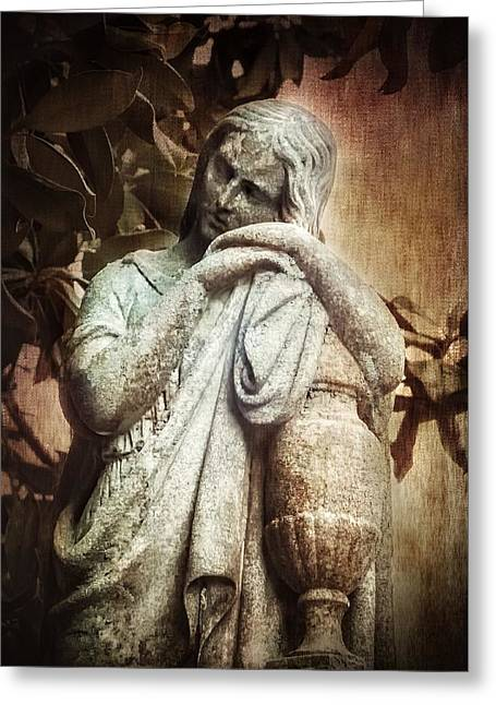 Eerie Greeting Cards - Sorrow Angel Grieving Greeting Card by Melissa Bittinger