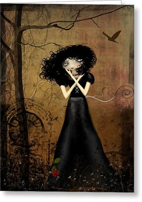 Goth Girl Greeting Cards - Sorry Greeting Card by Charlene Zatloukal