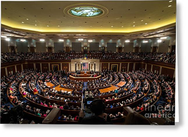 President Obama Greeting Cards - Sotu At U.s. Congress Joint Session Greeting Card by Science Source