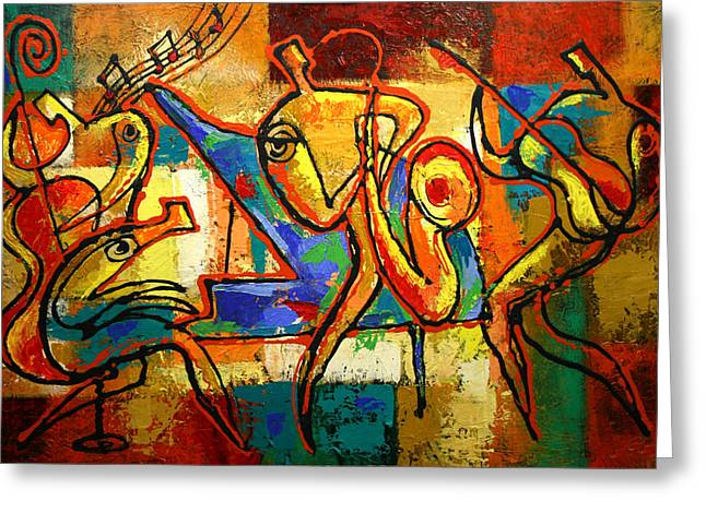 Free Form Greeting Cards - Soul Jazz Greeting Card by Leon Zernitsky
