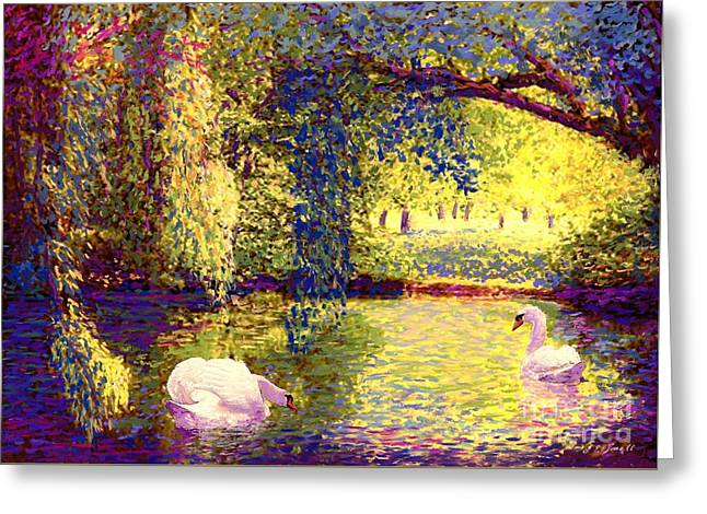 Swans, Soul Mates Greeting Card by Jane Small