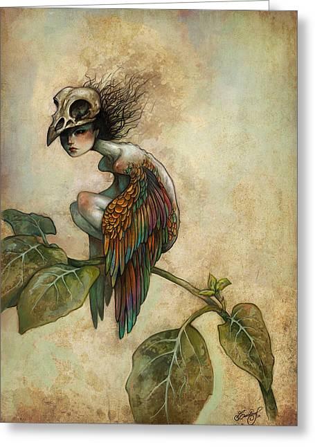 Mysterious Greeting Card featuring the painting Soul Of A Bird by Caroline Jamhour
