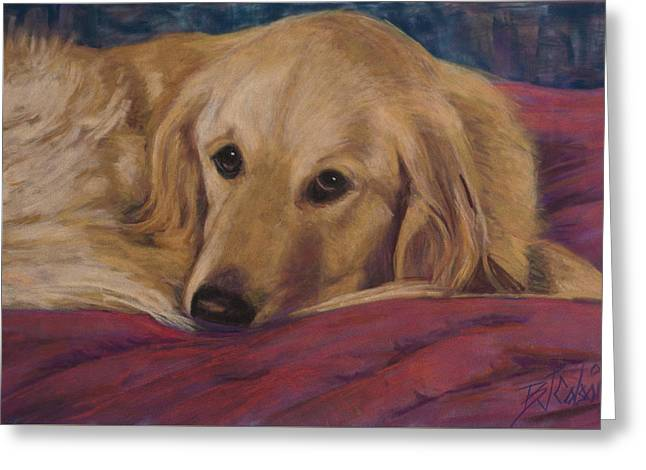 Dog Pastels Greeting Cards - Soulfull Eyes Greeting Card by Billie Colson