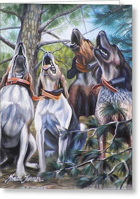 Pine Needles Drawings Greeting Cards - Sound Of The Hound Greeting Card by Monica Turner