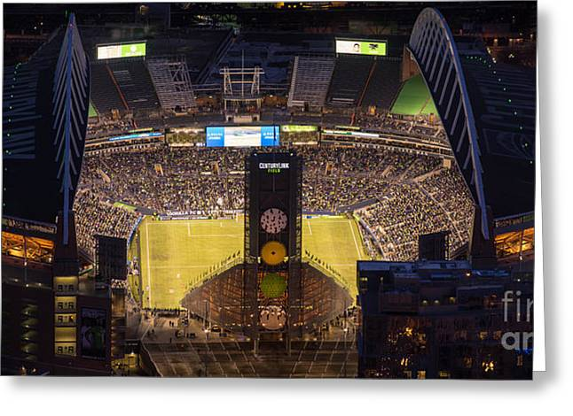 Observatory Greeting Cards - Sounders Match at Century Field Greeting Card by Mike Reid