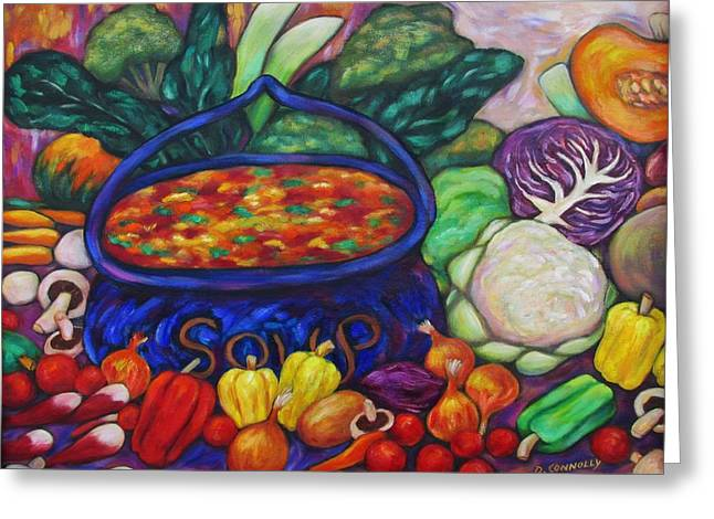 Recently Sold -  - Broccoli Greeting Cards - Soup In A Blue Pot Greeting Card by Dianne  Connolly