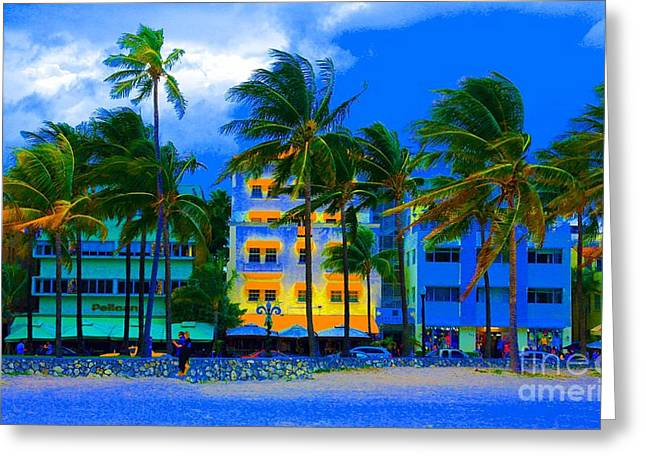 Miami Pastels Greeting Cards - Soutbeach Greeting Card by Dan Hilsenrath
