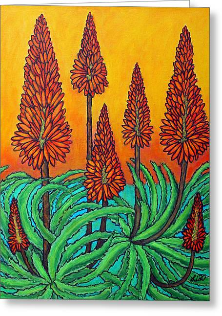 Lisa Lorenz Paintings Greeting Cards - South African Fireball Greeting Card by Lisa  Lorenz