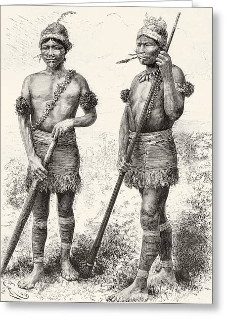 Ethnic Drawings Greeting Cards - South American Carijona Indians Greeting Card by Ken Welsh