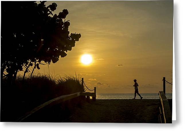 Jogging Greeting Cards - South Beach 2759 Greeting Card by Steve Lipson