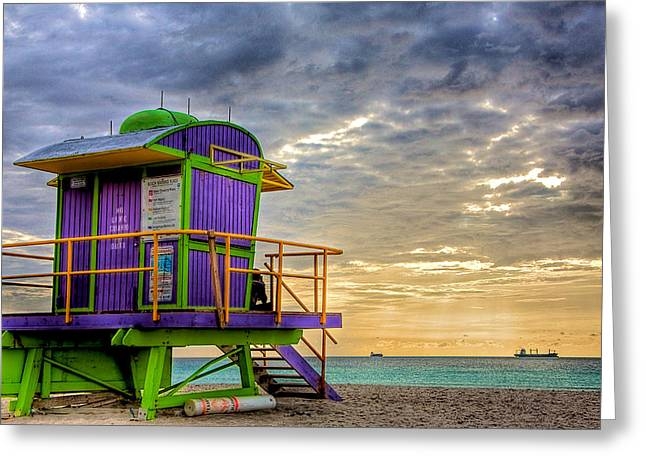 Florida Greeting Cards - South Beach Dawn Greeting Card by William Wetmore