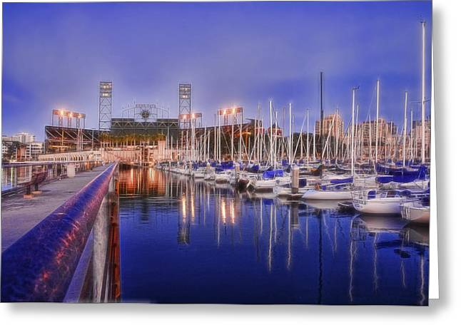 Boats At Dock Greeting Cards - South Beach San Francisco - Victors Boat Greeting Card by Rich Beer