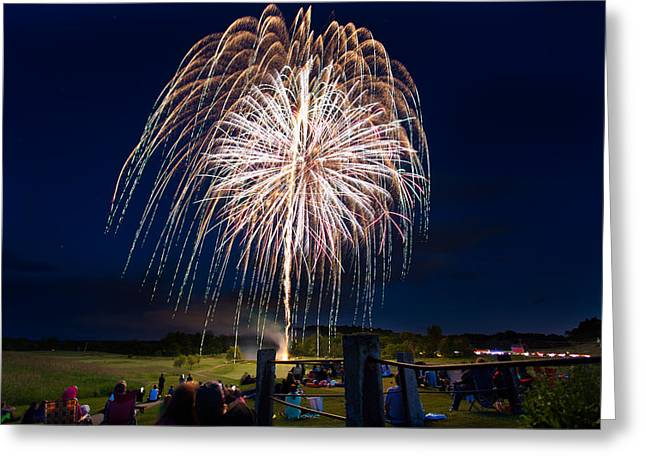 Outlook Pyrography Greeting Cards - South Berwick Fireworks Greeting Card by Stewart Mellentine