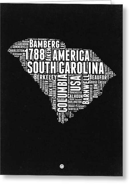 South Carolina Black And White Map Greeting Card by Naxart Studio