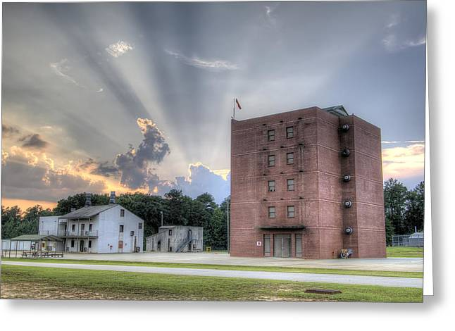 Burnt Digital Greeting Cards - South Carolina Fire Academy Tower Greeting Card by Dustin K Ryan