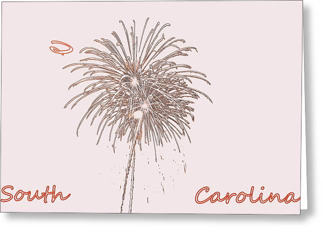 4th July Greeting Cards - South Carolina Fireworks Greeting Card by Lisa Wooten
