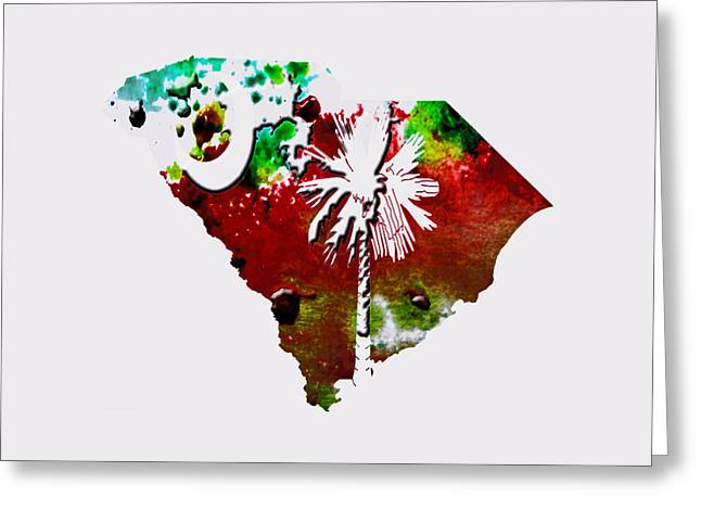 Confederate Flag Greeting Cards - South Carolina Paint Splatter Greeting Card by Brian Reaves