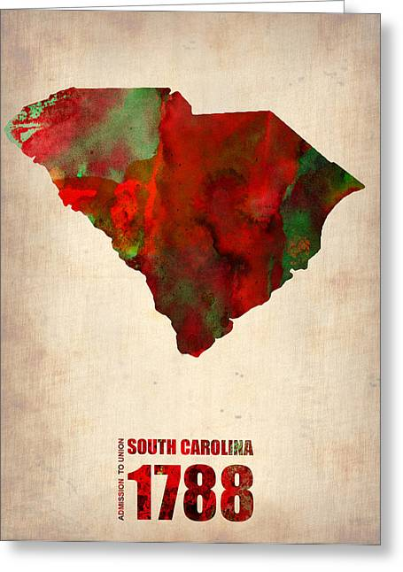 State Map Greeting Cards - South Carolina Watercolor Map Greeting Card by Naxart Studio