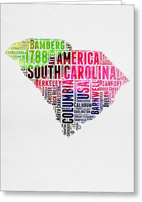 South Carolina Greeting Cards - South Carolina Watercolor Word Cloud Greeting Card by Naxart Studio