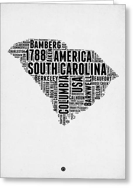 South Carolina Greeting Cards - South Carolina Word Cloud 1 Greeting Card by Naxart Studio